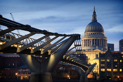 St Pauls dominating the skyline over Millennium Bridge