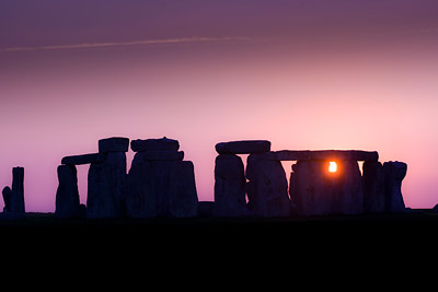 Sunset through Stonehenge
