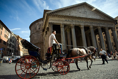 Horse drawn carriage at Pantheon, Rome