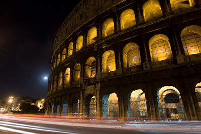 Colosseum and Traffic Trails