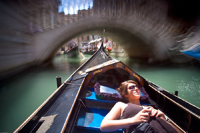 Slow shutter speed on Gondola, Venice