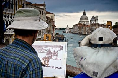 Painting Santa Maria della Salute from Accademia Bridge