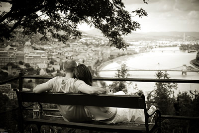 Romantic couple overlooking Danube Budapest