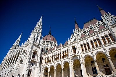Budapest Parliament Building on Hot Day