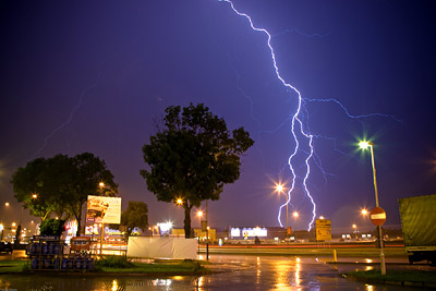 Bolt lightning over Ikea, Krakow, Poland