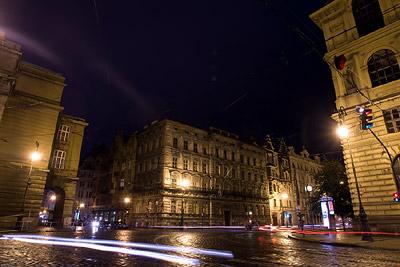 Prague intersection at night
