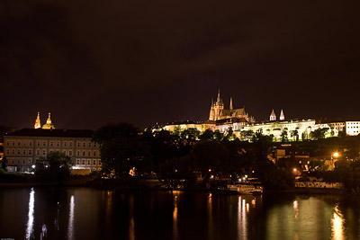 Prague Castle across River at Night
