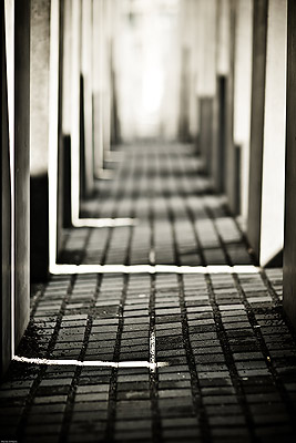 Holocaust Memorial, black and white