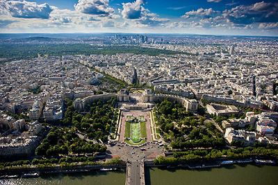 Stunning view from Eiffel Tower over Trocadero and La Defense