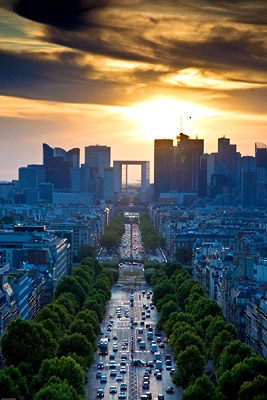 Sunset over La Defense, Paris from Arc de Triomphe