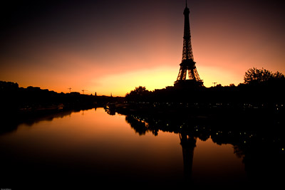 Sunrise over Eiffel Tower from Pont de Bir-Hakeim