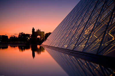 Louvre Pyramid Sunset with Arc de Triomphe du Carrousel