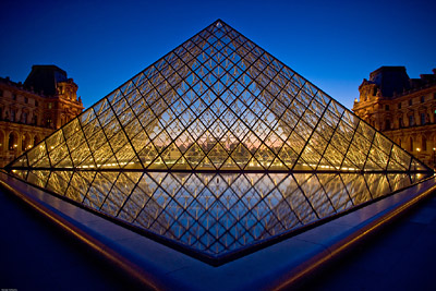 Symmetry Louvre Pyramid Sunset