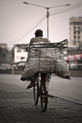 Loaded bicycle in Mumbai