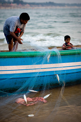 Young children fishing