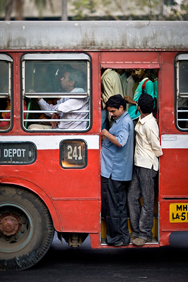 Overloaded bus Mumbai India