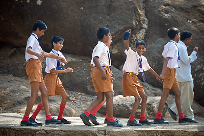 School children Kanheri Caves, India