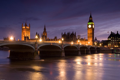Westminster Bridge and Houses of Parliament at Twilight