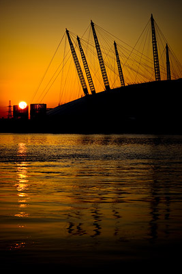 Sunrise over O2 Dome London