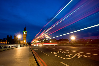 Light Trails Westminster Big Ben